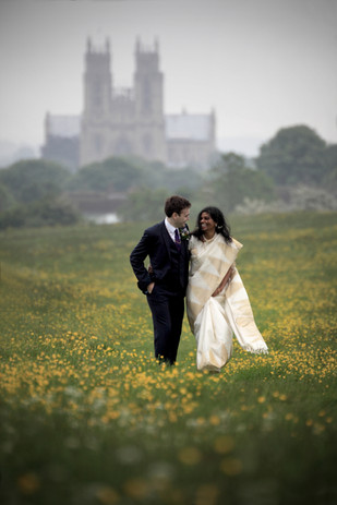 Wedding couple on Beverley Westwood