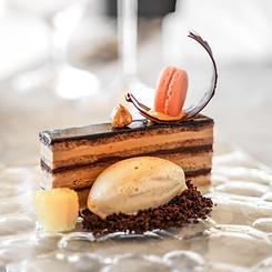 Opera Cake with Coffee Ice Cream