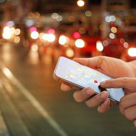 man using navigation app on the smartpho
