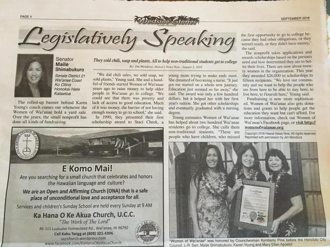 WOW Recognized By Senator Shimabukuro