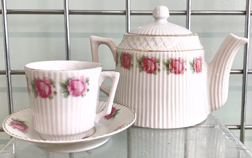 Pink Rose Coffee Pot and Cup Set