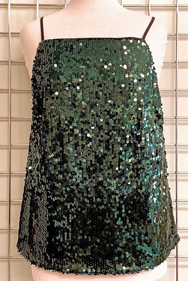 F&F Green Sequin Strappy Top UK14