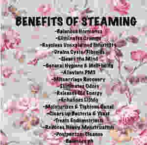Menopause detox  Vagi stem yoni steamDecrease bleeding – mugwort   Uterine Strengthening – ginseng   Missing Period – chamomile   Cleansing – calendula   Cleansing – basil   Disinfecting – oregano
