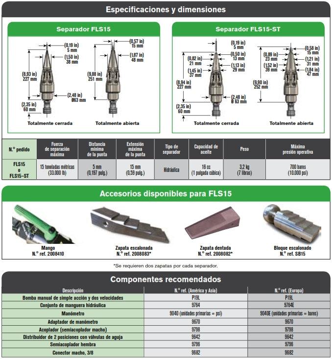 SPX separador FLS15 especificaciones