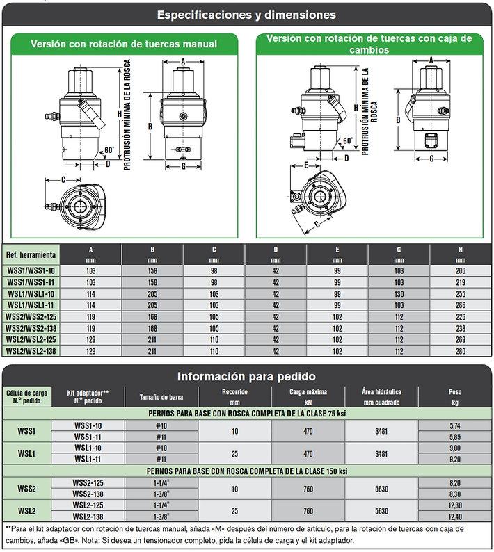 SPX WSL y WSS especificaciones