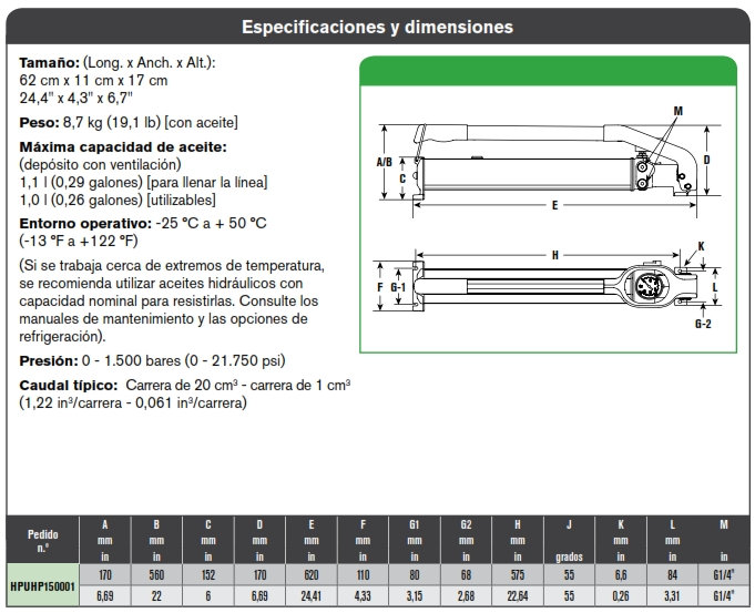 SPX HPUHP150001especificacion