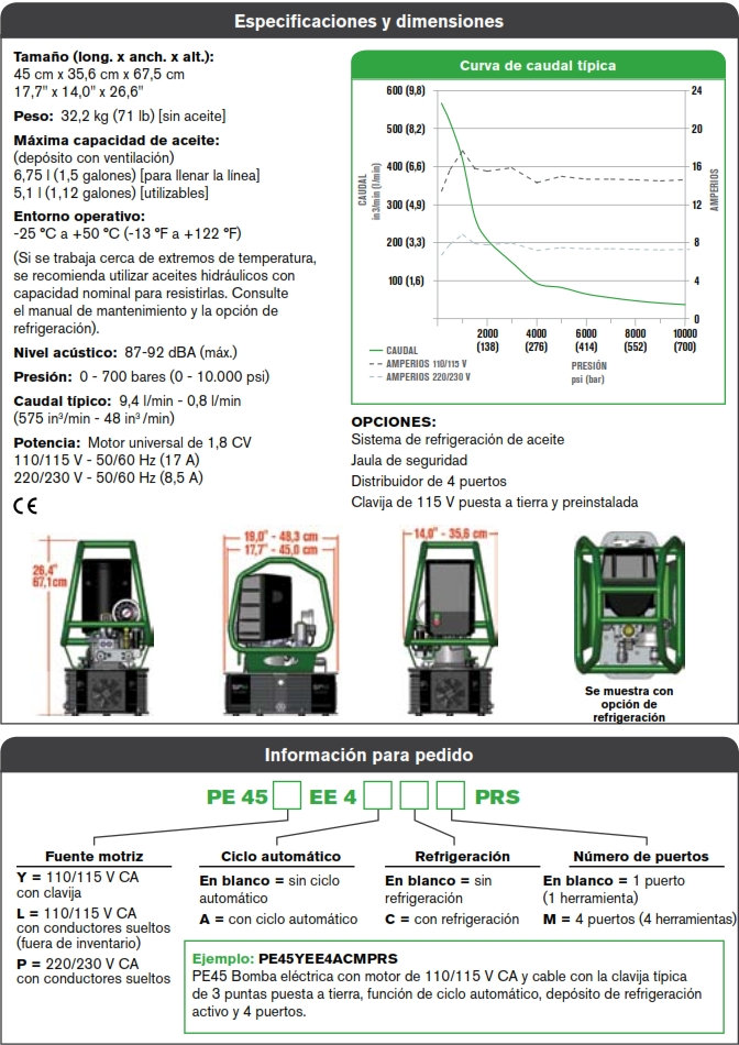 SPX PE45 bomba hidraulica torque especificaciones