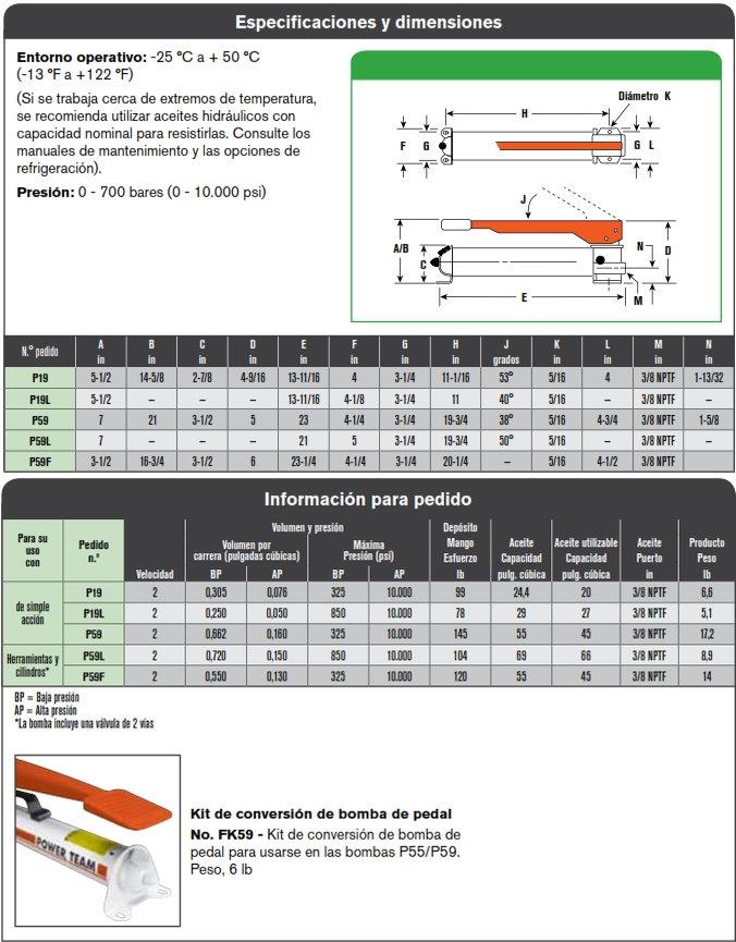 Power Team bomba hidraulica manual serie P