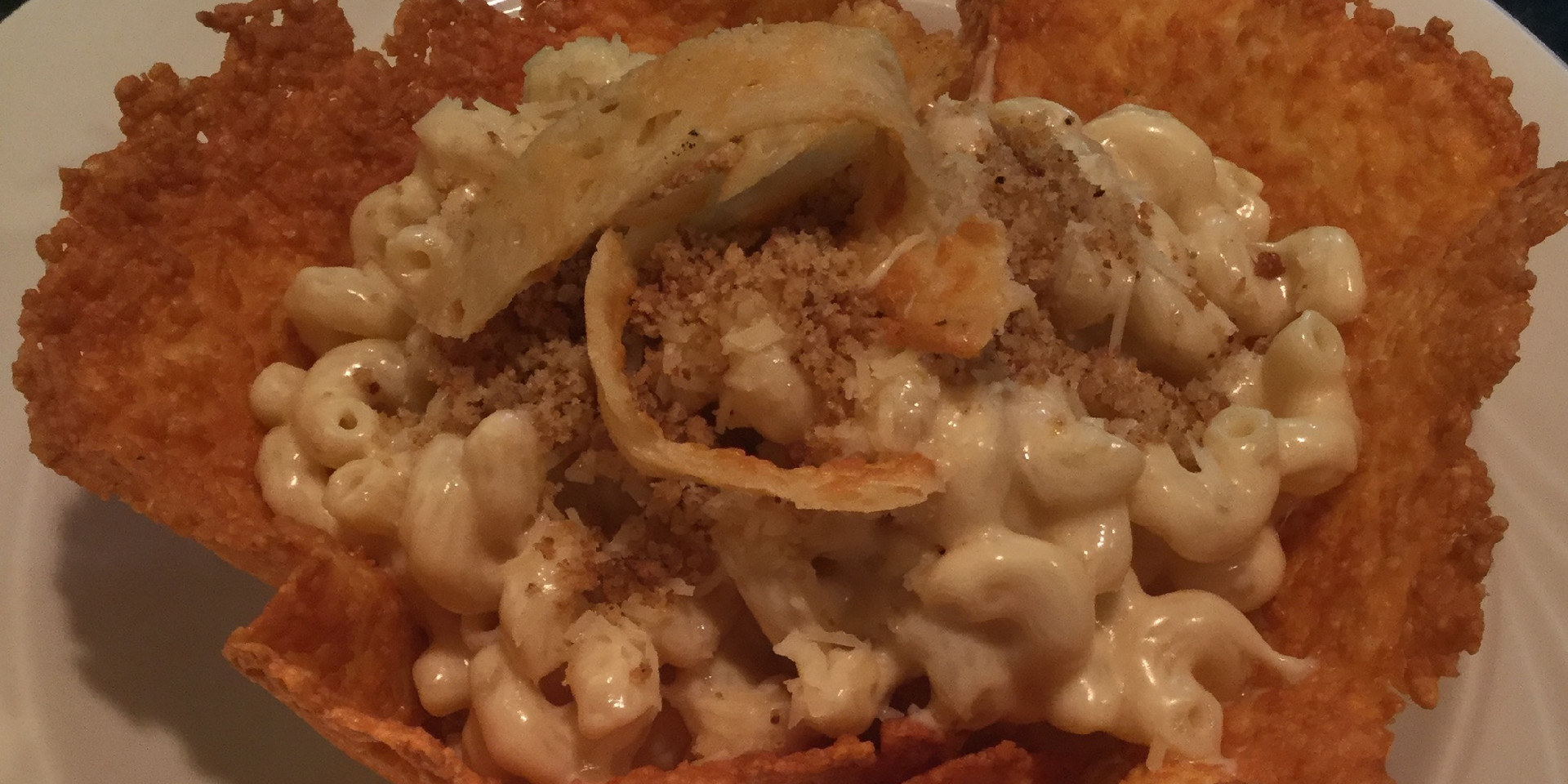 Macaroni and Cheese in a grilled Parmesan Cheese bowl