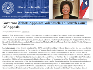 Judge Valenzuela Appointed to the 4th Court