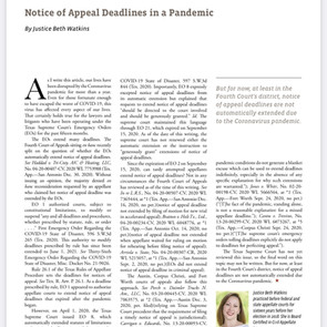 Notice of Appeal Deadlines in a Pandemic – SA Lawyer Article by Justice Watkins