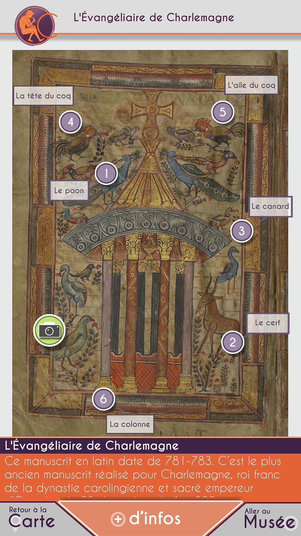 Capture d'écran de la micro-visite virtuelle de l'Évangéliaire de Charlemagne proposée par CulturMoov, application CulturMoov.Paris