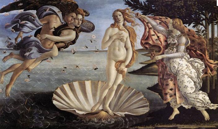La naissance de Vénus, Botticelli, Galerie des Offices.