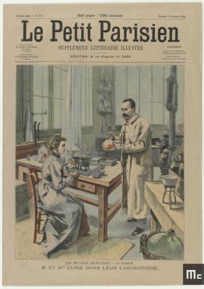 Page de couverture du journal « Le Petit Parisien » du 10 janvier 1904 représentant Pierre et Marie Curie dans leur laboratoire de l'EMPCI , 10 janvier 1904, Musée Curie ; coll. Imprimés, MCP455, Musée Curie ; coll. Imprimés