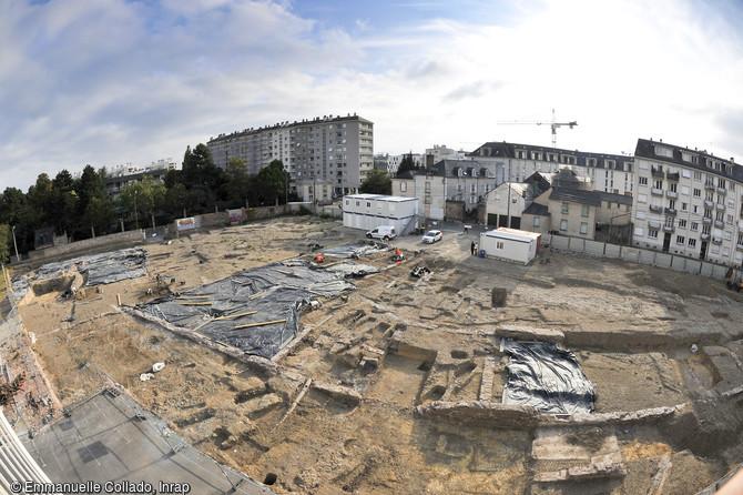 Vue de la fouille du quartier gallo-romain de l'hôtel-dieu à Rennes