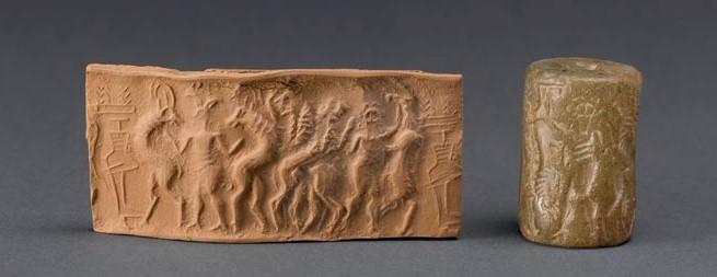 Exemple de sceau-cylindre du musée du Louvre, Combat de héros et d'animaux, environ 2600 avant notre ère