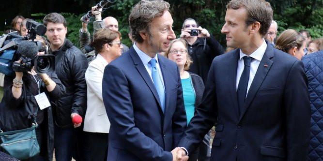 Stéphane Bern et Emmanuel Macron pendant les Journées Européennes du Patrimoine 2017