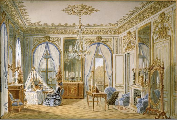 Aquarelle de Jean-Baptiste Fortuné de Fournier présentant le Cabinet de l'impératrice Eugénie, au château de Saint-Cloud