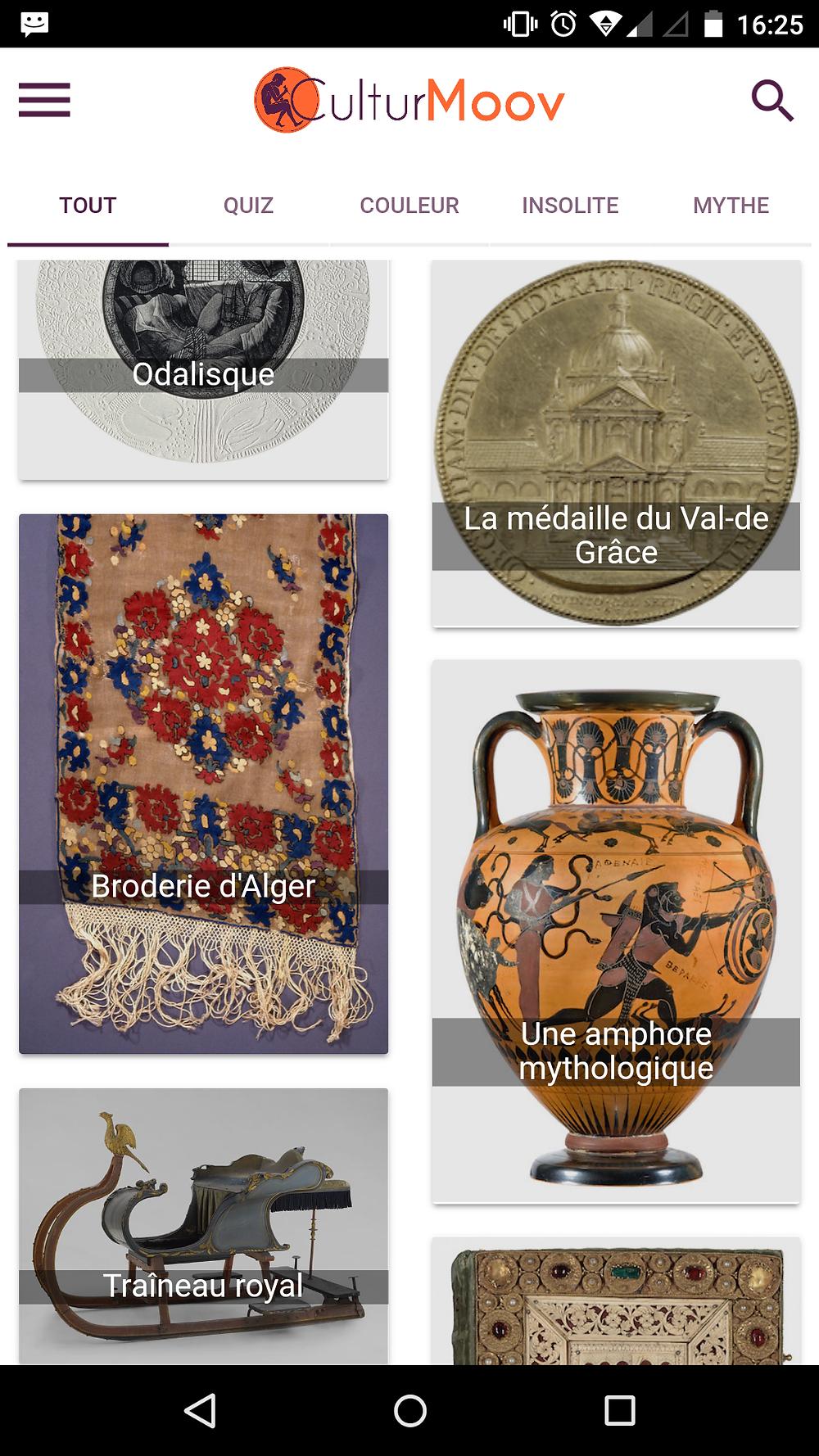 Page d'accueil de l'application CulturMoov