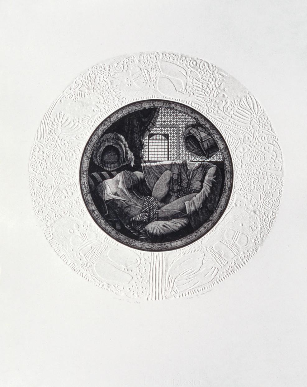 Awad Al Shimi, Odalisque n° 3, gravure à l'aquatinte sur zinc, 65 x 50 cm, Institut du Monde Arabe