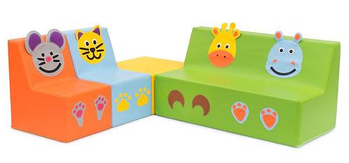 Conjunto de sofás com quadrado – animais