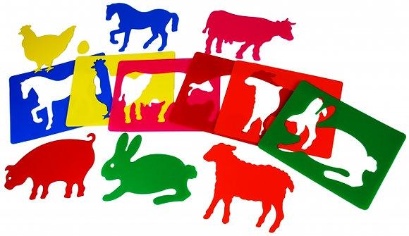 Stencil Animais da quinta