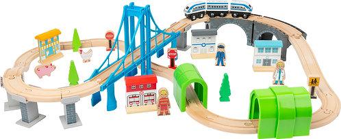 Pista de comboio com ponte