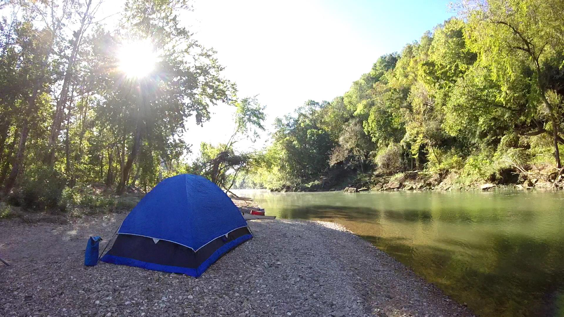 Camping on gravel bar
