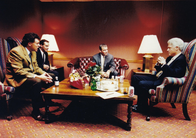 Anhueser-Busch CEO August Busch IV with President Bill Clinton
