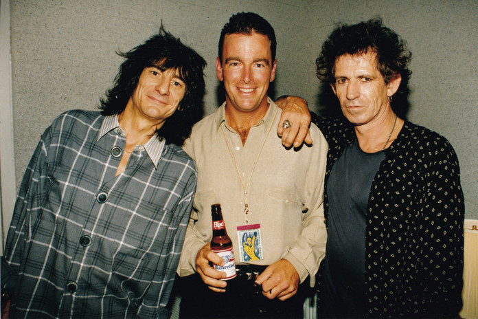 August Busch IV with Rolling Stones bandmates Keith Richards (right) and Ronnie Wood (left)
