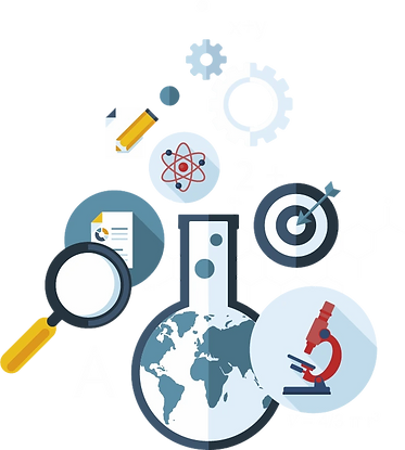 Illustration of different industries like science, medicine, engineering