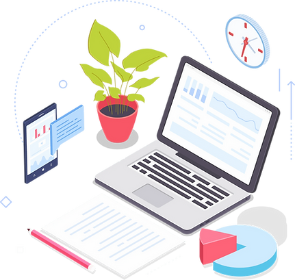 Illustration of office materials like laptop, pen and smartphone