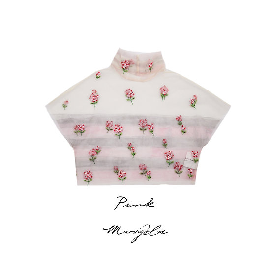 Pink Marigold embroidered caplet with Peach sleeveless top and skirt