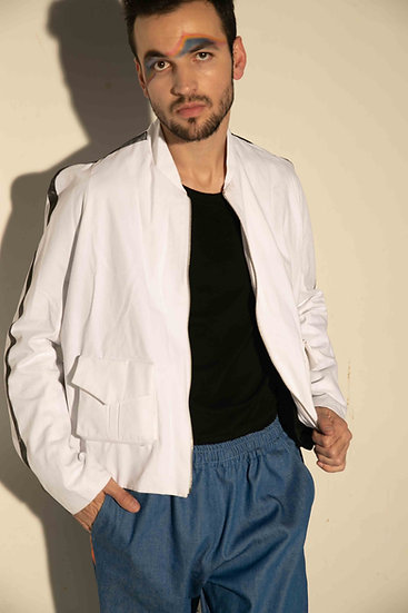 White Cotton Sports Jacket