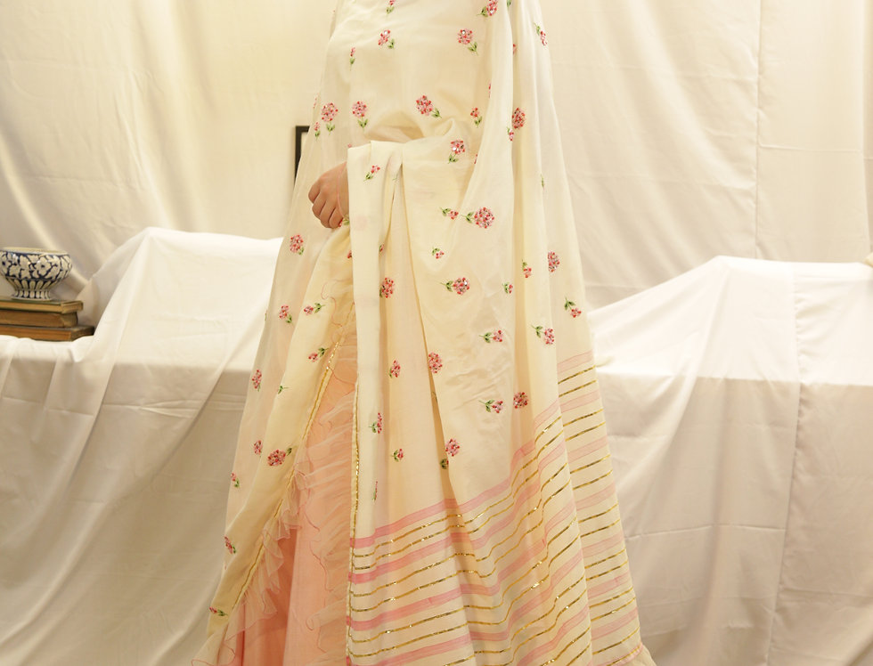 Candy Pink Skirt with Falling Flower Embroidery &Ivory Marigold Dupatta