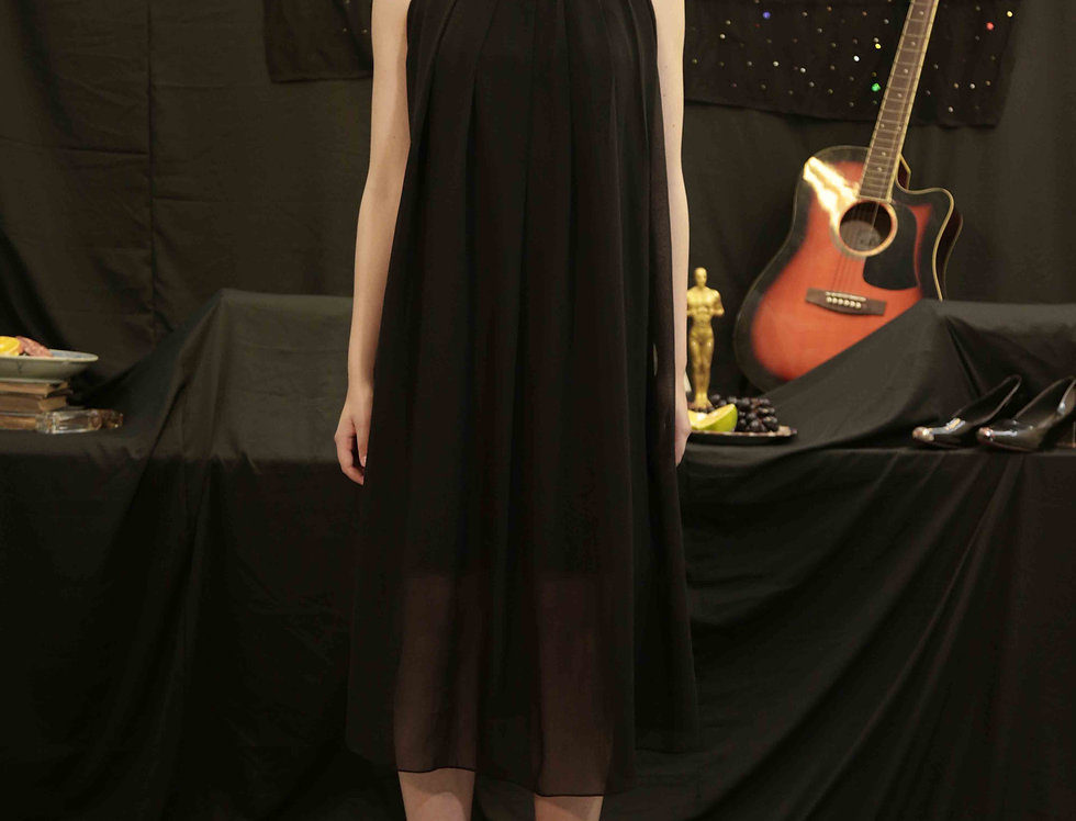 Black Dress with Embroidered Collar
