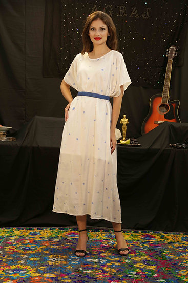 Blue Polka Easy Dress with White Slip