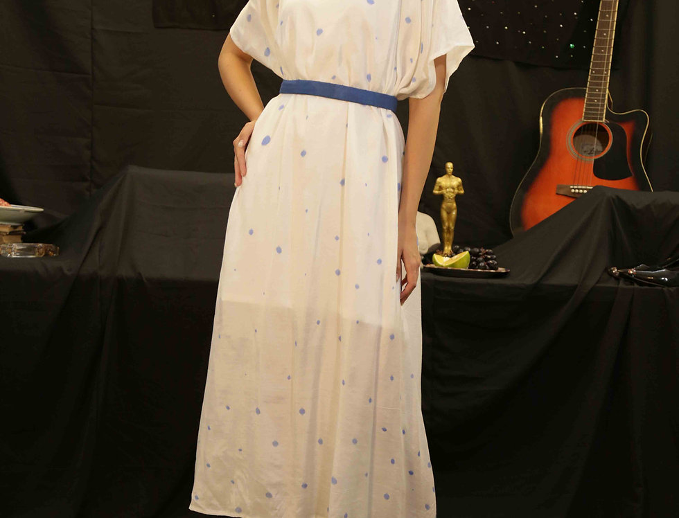 Blue Polka Easy Dress with White Slip
