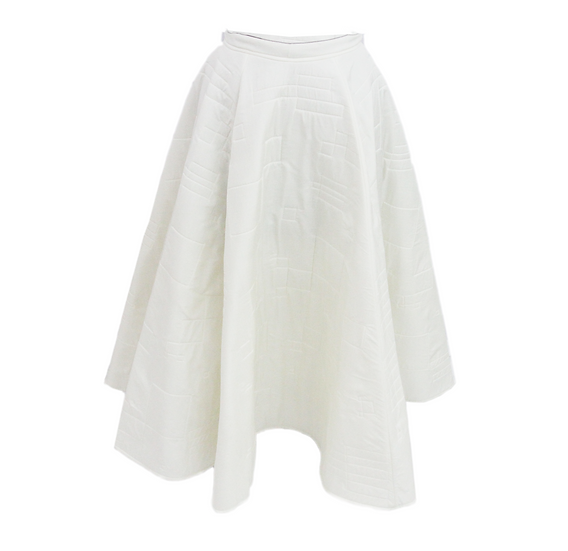 "White 'Quilted'""Peace Silk""couture skirt"