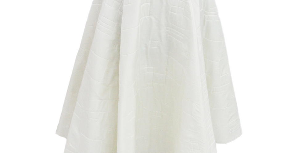 """White 'Quilted'""""Peace Silk""""couture skirt"""