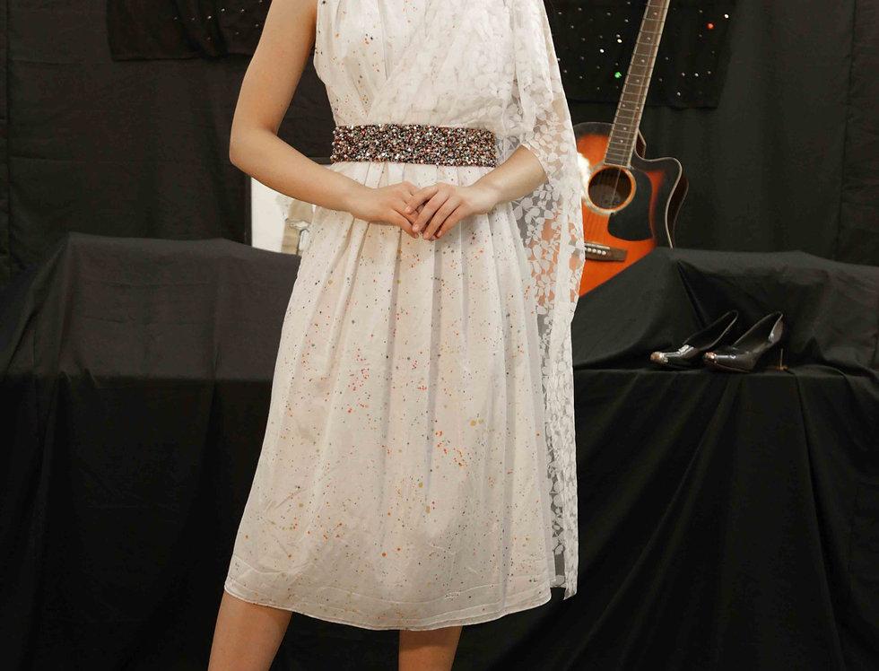 White Multicoloured Dress with Lace Shoulder Drape