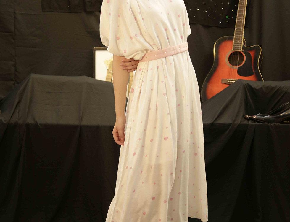 Pink Polka easy dress with White Slip & pink sash belt