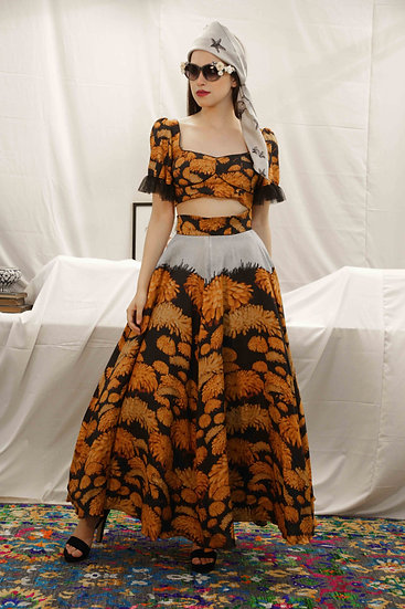 Wild Flowers Enchanted Garden Skirt with Blouse & Scarf