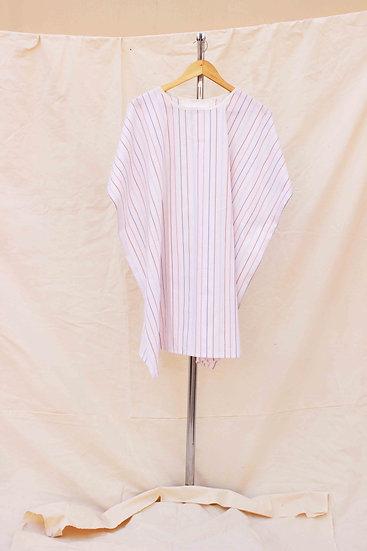 Multicoloured stripped, white cotton Poncho shift dress