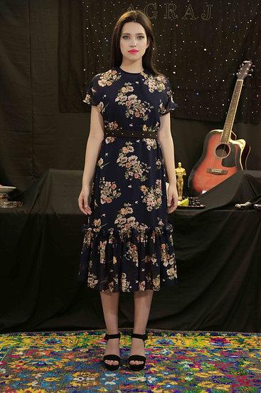 Navy Blue Bouquet print Georgette dress with Black pearl belt