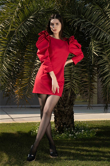 Red Crystal Sleeves Dress