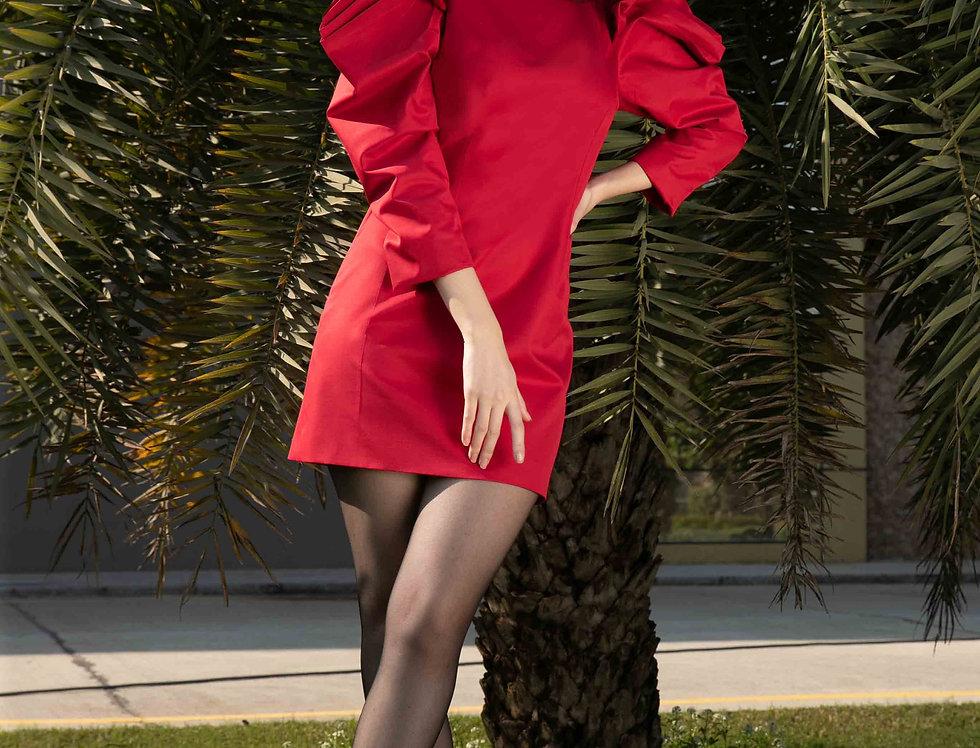 Red Crystal Sleeves Dress