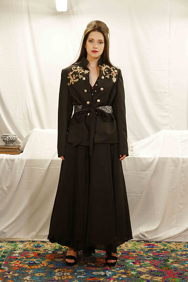 Maharani Black Lounge Jacket with Plain Skirt & Belt