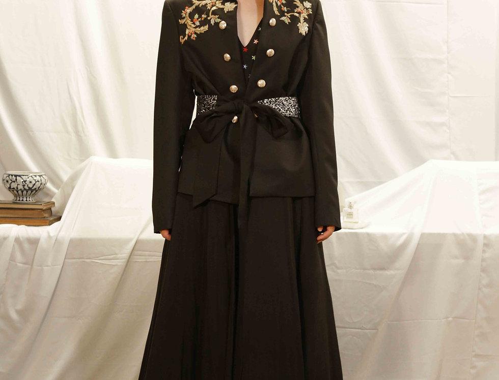 Maharani Black Lounge Jacket with Plain Skirt & Belt