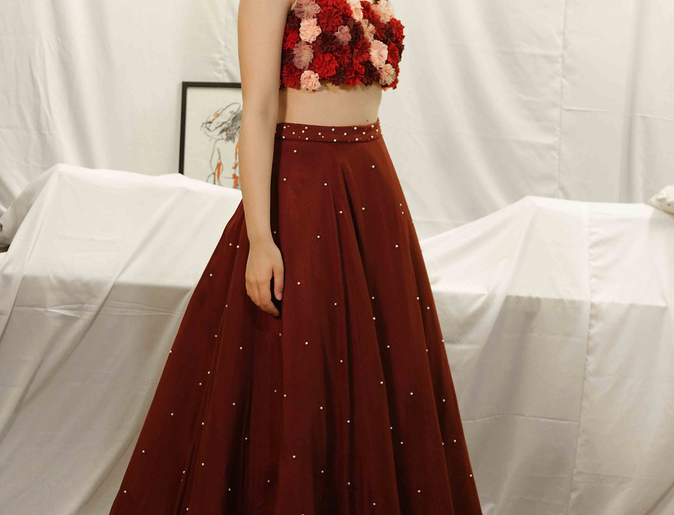 'Rose' top with Wine Pearl Skirt